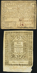Colonial Notes:Rhode Island, Fully Issued Rhode Island July 2, 1780 $1 Fine-VF;. Rhode IslandMay 1786 40s VF.. ... (Total: 2 notes)