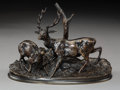 Sculpture, After Pierre Jules Mene (French). Stag with Doe. Bronze with brown patina. 4-3/4 inches (12.1 cm) high. Inscribed on bas...