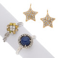 Estate Jewelry:Lots, Colored Diamond, Diamond, Synthetic Star Sapphire, Gold Jewelry .... (Total: 3 Items)