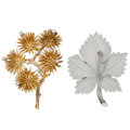 Estate Jewelry:Brooches - Pins, Diamond, Rock Crystal Quartz, Gold Brooches. ... (Total: 2 Items)