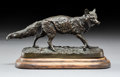 Bronze:European, After Pierre Jules Mene (French). Wolf. Bronze with brownpatina. 3-1/8 inches (7.9 cm) high. Inscribed on base: P.J....