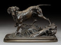 Sculpture, After Ferdinand Pautrot (French). Chien braque a l'arret. Bronze with brown patina. 8-1/8 inches (20.6 cm) high. Inscrib...
