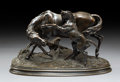 Sculpture, After Pierre Jules Mene (French). Horses. Bronze with brown patina. 6-3/8 inches (16.2 cm) high. Inscribed on base: P....