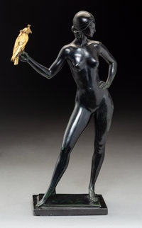 Allan Clark (American, 1896-1950) Charmion Bronze with greenish black and gold patina 15 inches (