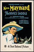 "Movie Posters:Western, The Devil's Saddle (First National, 1927) Fine+ on Linen. One Sheet (27"" X 41""). Western...."