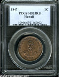 Coins of Hawaii: , 1847 1C Hawaii Cent MS63 Red and Brown PCGS....