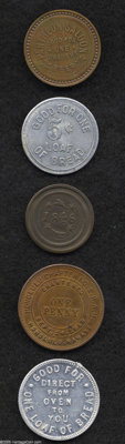 Hawaiian Tokens. Included are: Continental Bakery, aluminum, AU50 Edge Damage; R.A.M. penny MS63 Cleaned, lightly hairli...