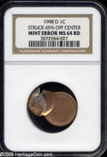 Errors: , 1998-D 1C Lincoln Cent--Struck 65% Off Center--MS64 Red NGC....