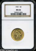 Liberty Half Eagles: , 1901 $5 MS66 NGC. ...