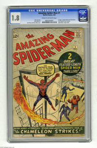 The Amazing Spider-Man #1 (Marvel, 1963) CGC GD- 1.8 Cream to off-white pages. Key Silver Age Marvel. Spider-Man's origi...
