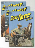 Golden Age (1938-1955):Western, Gene Autry Comics Group (Dell, 1949-50). This lot consists ofissues #23 (VG+); 34 (FN+); and 36 (VG+). Approximate Overstre...(Total: 3 Comic Books Item)