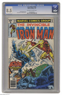 Iron Man #124 (Marvel, 1979) CGC VF+ 8.5. John Romita Jr. art. Overstreet 2004 VF 8.0 value = $5; VF/NM 9.0 value = $6...