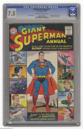 Silver Age (1956-1969):Superhero, Superman Annual #1 (DC, 1960) CGC VF- 7.5 Cream to off-white pages. Curt Swan cover. First Silver Age D.C. Annual. Two page ...