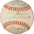 Baseball Collectibles:Balls, 1958 New York Yankees Team Signed Baseball from The Enos Slaughter Collection. ...