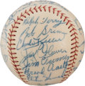 Baseball Collectibles:Balls, 1957 New York Yankees Team Signed Baseball from The Enos Slaughter Collection....
