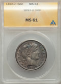 Barber Half Dollars: , 1893-O 50C MS61 ANACS. NGC Census: (10/113). PCGS Population: (5/129). CDN: $775 Whsle. Bid for problem-free NGC/PCGS MS61....