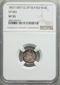 Seated Half Dimes, 1837 H10C No Stars, Large Date (Curl Top 1) VF35 NGC. (VP-001). NGC Census: (18/1020). PCGS Population: (14/838). VF35. Min...