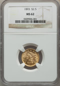 1893 $2 1/2 MS62 NGC. NGC Census: (311/407). PCGS Population: (210/459). CDN: $450 Whsle. Bid for problem-free NGC/PCGS...