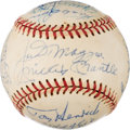 Baseball Collectibles:Balls, 1970's Baseball Greats Multi-Signed Baseball with Mantle & DiMaggio from The Enos Slaughter Collection. ...