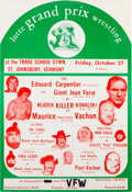 Miscellaneous Collectibles:General, Circa 1973 Lutte Grand Prix Wrestling Promotion Poster with Andre the Giant as Giant Jean Ferre....