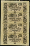 Obsoletes By State:Louisiana, New Orleans, LA- Canal Bank $10-$10-$10-$10 18__ Uncut Sheet Choice Crisp Uncirculated.. ...