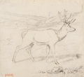 Fine Art - Work on Paper:Drawing, Antoine-Louis Barye (French, 1796-1875). Deer. Pencil onpaper. 4-1/2 x 5 inches (11.4 x 12.7 cm). Stamped lower left: ...