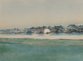 Fine Art - Work on Paper:Watercolor, DeLancey Walker Gill (American, 1859-1940). A WatersideTown, 1890. Watercolor on paper. 10-3/8 x 13-7/8 inches (26.4 x...
