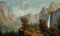 Fine Art - Painting, American, Eliza Rosanna Lamb Barchus (American, 1857-1959). Yosemite fromArtist Point. Oil on canvas. 21-3/4 x 36 inches (55.2 x ...