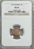 Barber Dimes, 1916 10C MS66 NGC. NGC Census: (33/8). PCGS Population: (52/8).MS66. Mintage 18,490,000. ...