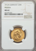 German States:Prussia, German States: Prussia. Wilhelm II gold 20 Mark 1912-A MS62 NGC,...