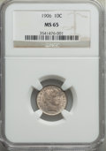 Barber Dimes: , 1906 10C MS65 NGC. NGC Census: (45/9). PCGS Population: (44/18). MS65. Mintage 19,958,406. ...