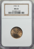 Liberty Nickels: , 1904 5C MS65 NGC. NGC Census: (129/53). PCGS Population: (219/81). CDN: $350 Whsle. Bid for problem-free NGC/PCGS MS65. Min...