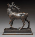 Sculpture, After Antoine-Louis Barye (French, 1796-1875). Stag with Head Thrust Upward. Bronze with brown patina. 4-1/2 inches (11....