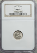 Seated Half Dimes: , 1857 H10C MS64 NGC. NGC Census: (206/147). PCGS Population: (179/130). MS64. Mintage 7,280,000. ...