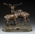 Sculpture, Alfred Dubucand (French, 1828-1894). Cerf et Biche, 1870. Bronze with brown patina. 16 inches (40.6 cm) high. Inscribed ...