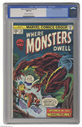 Bronze Age (1970-1979):Horror, Where Monsters Dwell #36 (Marvel, 1975) CGC NM 9.4 Off-white towhite pages. Overstreet 2004 NM- 9.2 value = $15. CGC census...