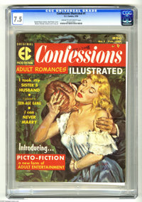 Confessions Illustrated #1 (EC, 1956) CGC VF- 7.5 Cream to off-white pages. Bud Parke cover. Wally Wood, Joe Orlando, Ja...