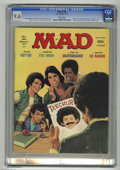 "Magazines:Humor, Mad #189 (EC, 1977) CGC NM+ 9.6 White pages. Back cover printedupside down. ""The Omen"" and ""Welcome Back Kotter"" parodies. ..."