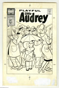 Original Comic Art:Covers, Steve Muffatti - Playful Little Audrey #1 Cover Original Art(Harvey, 1957). Little Audrey shelters herself against pushy su...