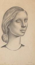 Works on Paper, Gustavo Montoya (Mexican, 1905-2003). Woman in profile, 1939. Pencil on paper. 9-3/4 x 5-3/4 inches (24.8 x 14.6 cm). Si...
