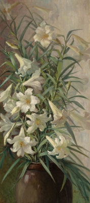 Sarah Bender De Wolfe (American, 1852-1935) Easter Lilies, 1886 Oil on canvas 39-3/4 x 17-3/4 inc
