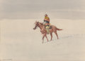 Works on Paper:Watercolor, Leonard Howard Reedy (American, 1899-1956). The Lone Rider. Watercolor on paper. 7-1/2 x 10-3/8 inches (19.1 x 26.4 cm) ...