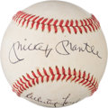 Baseball Collectibles:Balls, 1980's Mickey Mantle & Whitey Ford Signed Baseball from The Enos Slaughter Collection. ...