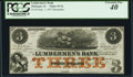 Obsoletes By State:Iowa, Dubuque, IA- Lumbermen's Bank of E. L. Fuller & Co. $3 Sep. 1,1857 Oakes 55-3a Remainder PCGS Extremely Fine 40.. ...