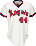 Baseball Collectibles:Uniforms, 1982 Reggie Jackson Game Worn & Signed California Angels Jersey& Cap.... (Total: 2 items)