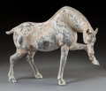 Asian:Chinese, A Chinese Painted Pottery Prancing Horse, Tang Dynasty, 618-907. 14-1/4 x 18 x 10 inches (36.2 x 45.7 x 25.4 cm). ...