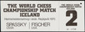 Olympic Collectibles:Autographs, 1972 World Chess Championship Full Ticket Bobby Fischer vs. Boris Spassky....