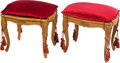 Furniture : Continental, A Pair of Italian Louis XV-Style Caned Benches with Red Velvet Cushions. Marks: MADE IN ITALY, 8. 18 x 19 x 15-1/2 inche... (Total: 2 Items)