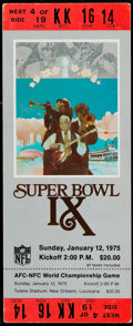 Football Collectibles:Tickets, 1975 Super Bowl IX Full Ticket - Red Variation....