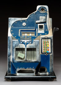 A Mills QT Enameled Metal and Painted Wood 5 Cent Three-Reel Slot Machine with Double Jackpo